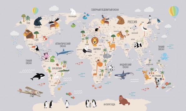 Фотообои  Детская интерактивная карта на русском