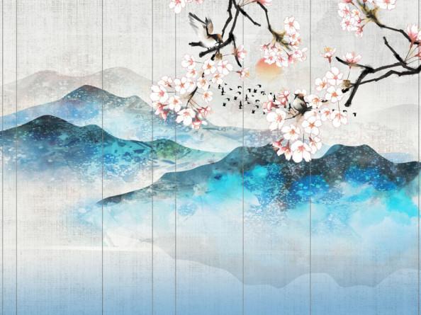 Фотообои Горы и сакура в японском стиле