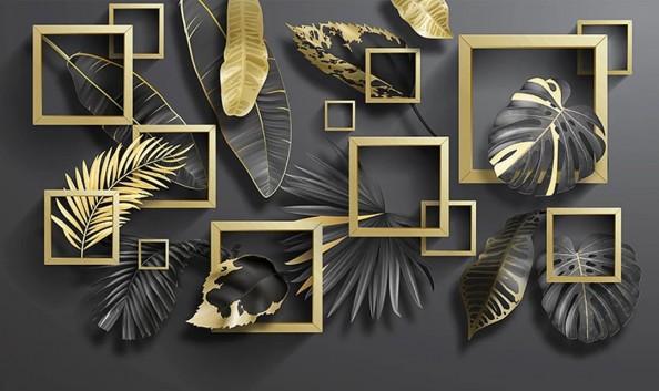 Фотообои Золотые квадраты и тропические листья