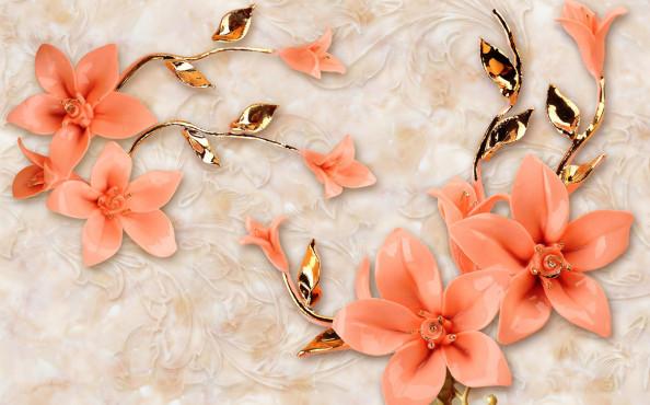 Фотообои барельефные цветы