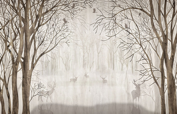 Фотообои Олени в тумане