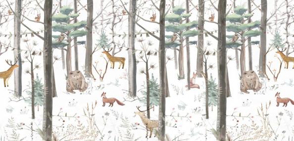 Фотообои Звери в зимнем лесу