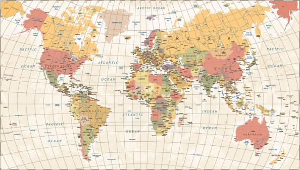 Фотообои Детальная карта мира