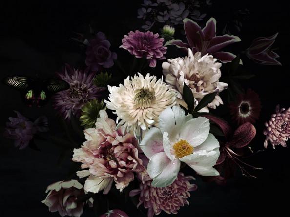 Фотообои Букет цветов на черном фоне