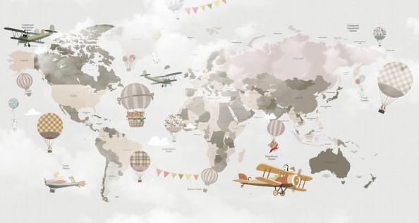 Фотообои Самолеты и шары на фоне карты