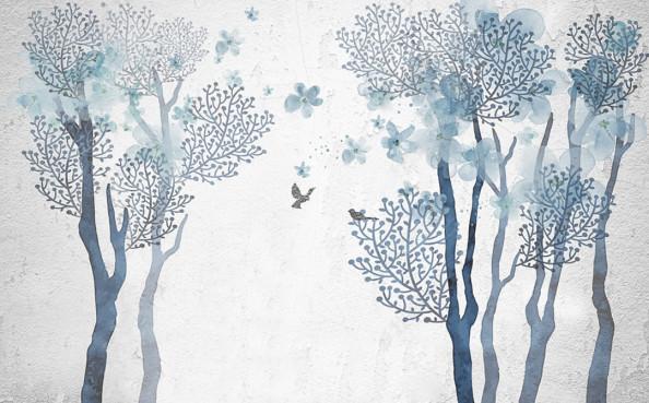 Фотообои Ручная роспись, синее дерево