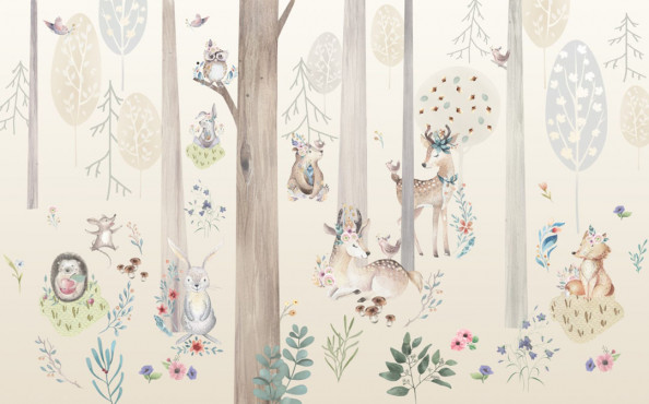 Фотообои  Зверюшки в лесу