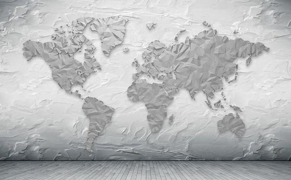 Фотообои  Бумажная карта мира