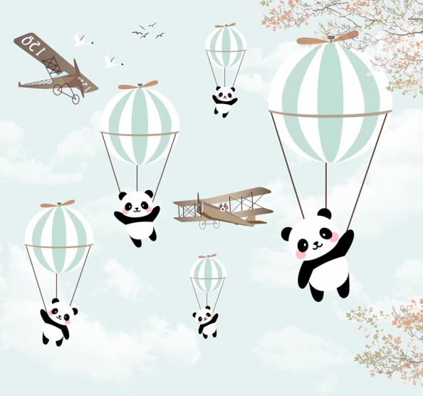 Фотообои Воздушые шары с пандами