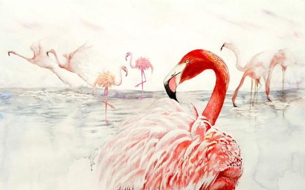 Фотообои Фламинго акварельными красками