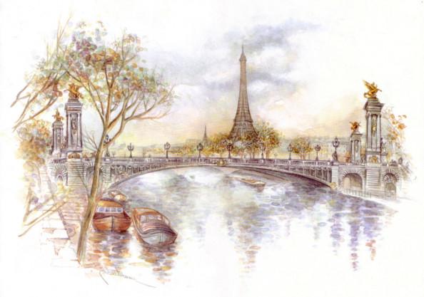 Фотообои Акварельный Париж