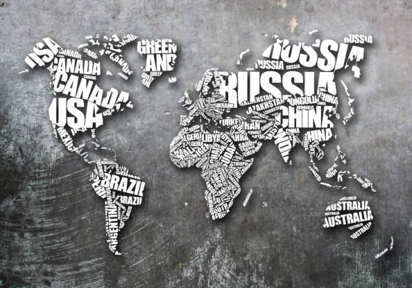 Фотообои карта мира на сером фоне