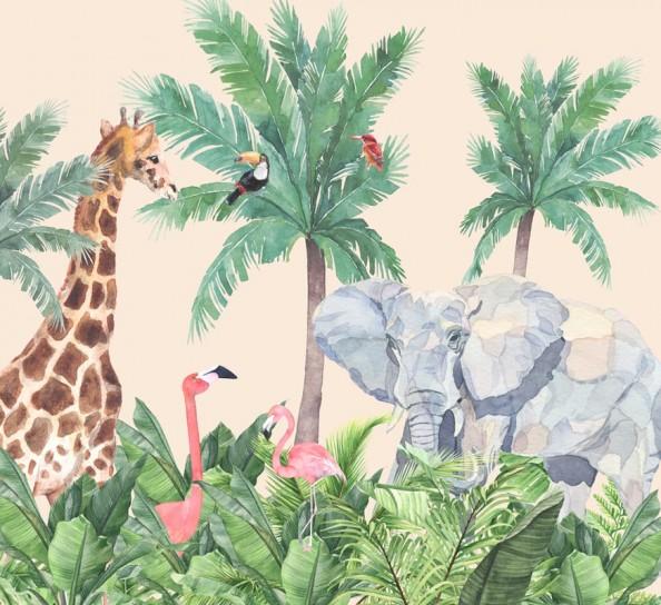 Фотообои Жирафы и птицы