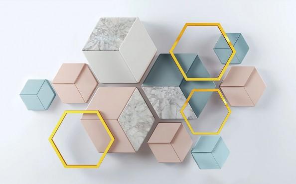 Фотообои Обьемные шестиугольники