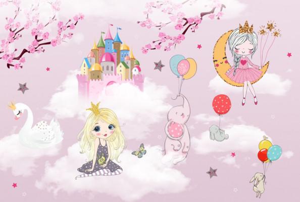Фотообои  Розовые принцессы для девочки