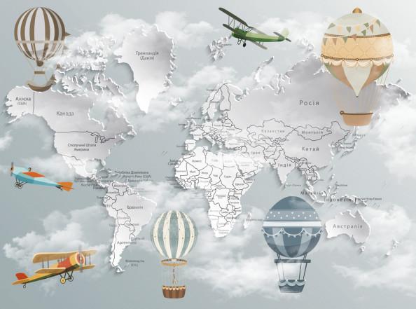 Фотообои Детская карта с воздушными шарами