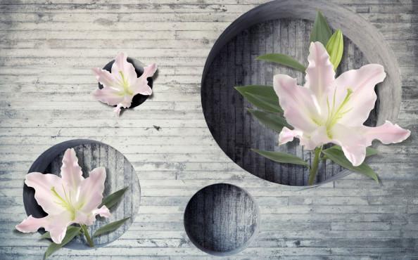 Фотообои 3d стена с цветами