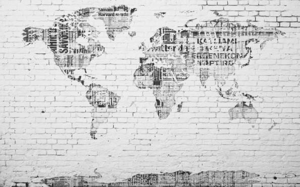 Фотообои Карта мира на кирпичной  стенке