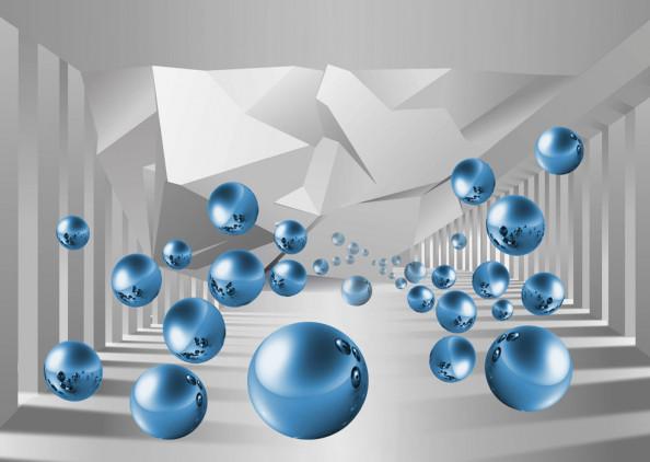 Фотообои Синие 3д шары