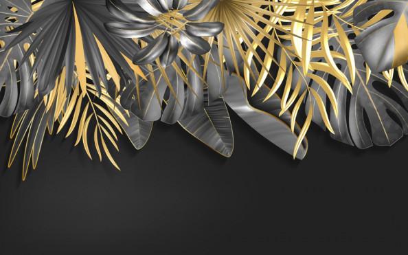 Фотообои Тропические листья с золотом
