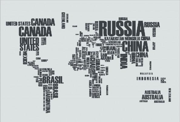 Фотообои карта мира с надписей