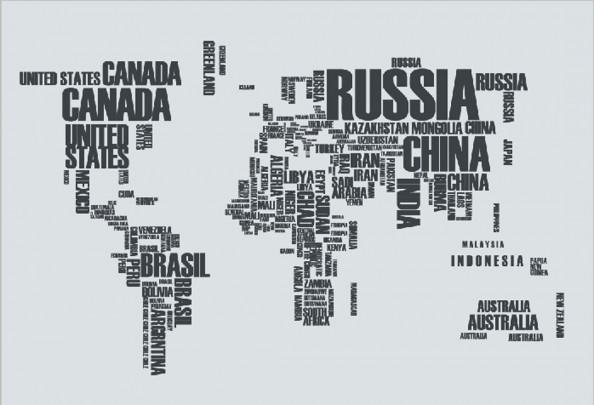 Фотообои Текста в виде карты мира