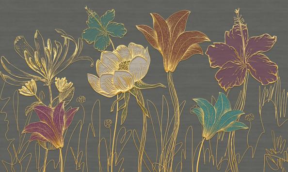 Фотообои Золотые цветы