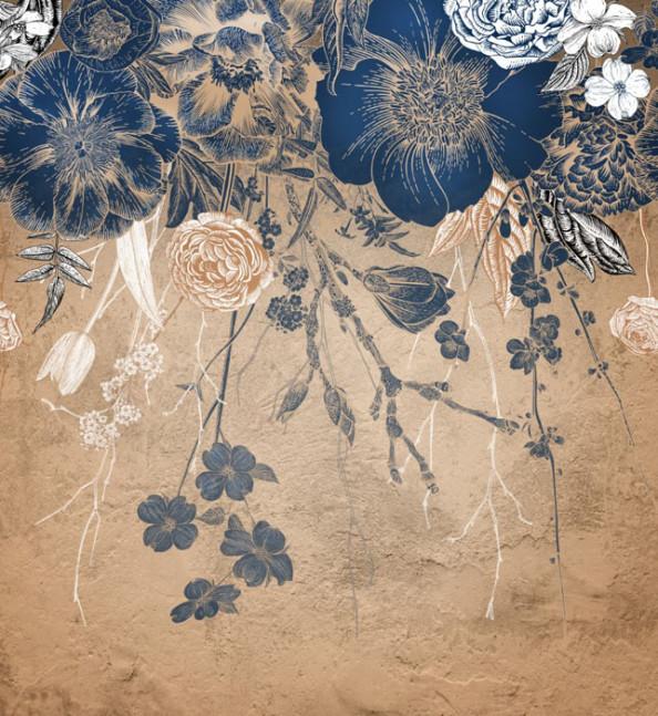 Фотообои Винтажные синие цветы