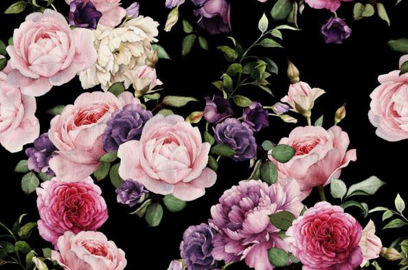 Фотообои Прованские цветы на чёрном