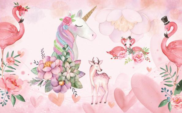 Фотообои сказочный единорог и фламинго