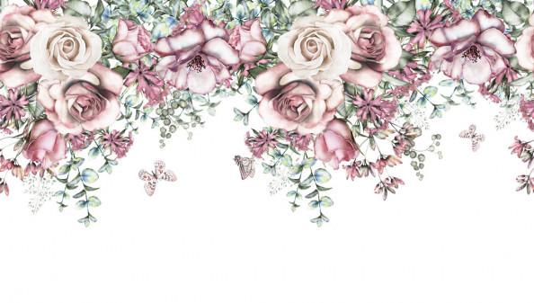Фотообои Цветочная композиция на белом фоне