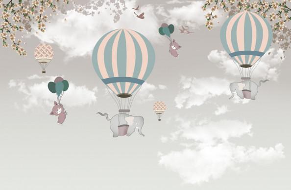 Фотообои  Слоники на воздушном шарике