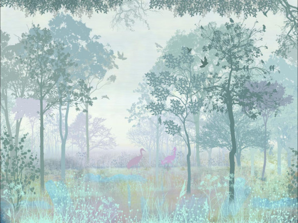 Фотообои Сказочный лес с цаплями