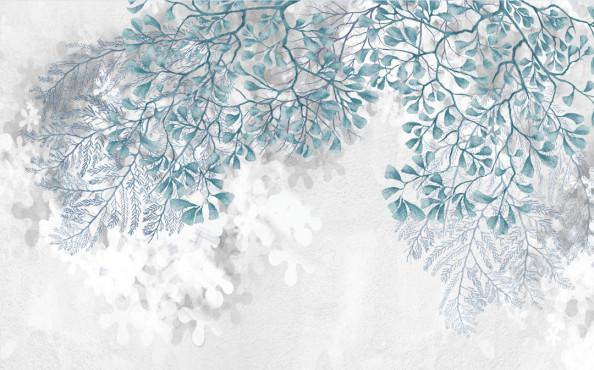 Фотообои Бирюзовый оттенок, листья