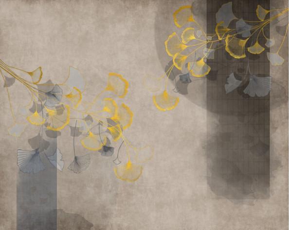 Фотообои Золотые ветки гинкго