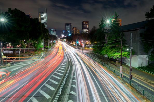 Фотообои Ночная улица мегаполиса