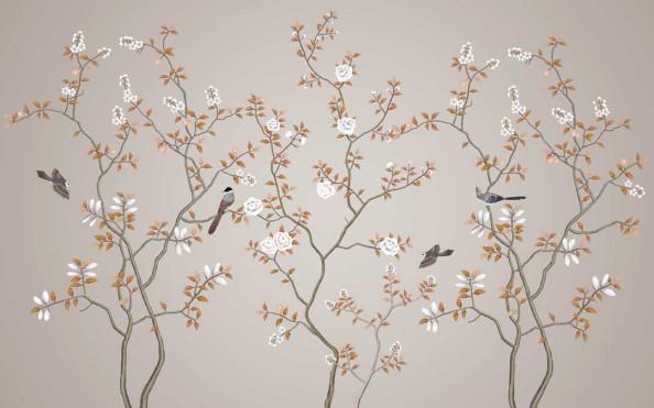 Фотообои Ветки с цветами и птичками