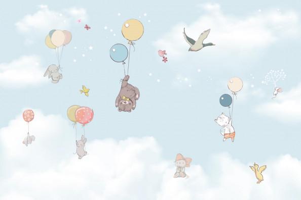 Фотообои Зверушки на воздушном шаре
