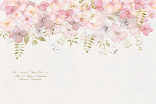 Фотообои Цветы на бежевом фоне