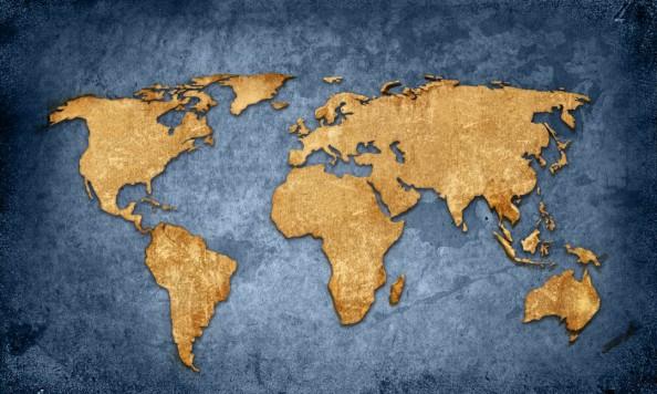 Фотообои Золотая карта мира