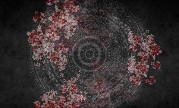 Фотообои Мандала с красными цветами