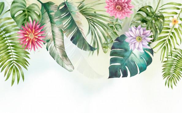 Фотообои Дизайнерские листья с цветами