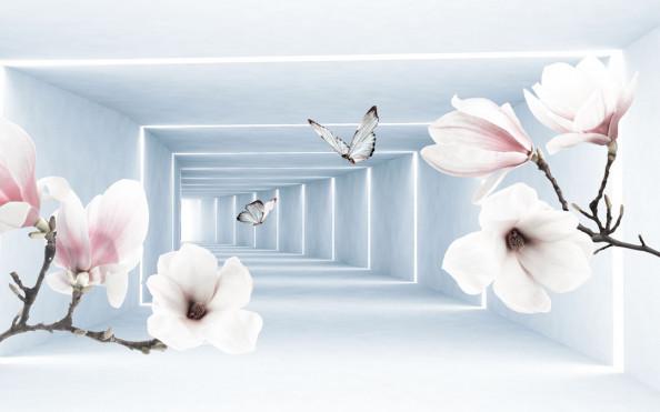Фотообои 3д коридор с цветами
