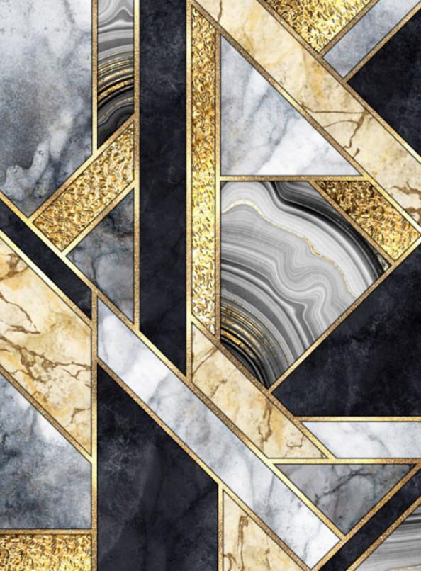 Фотообои Геометрия из черного мрамора с золотом